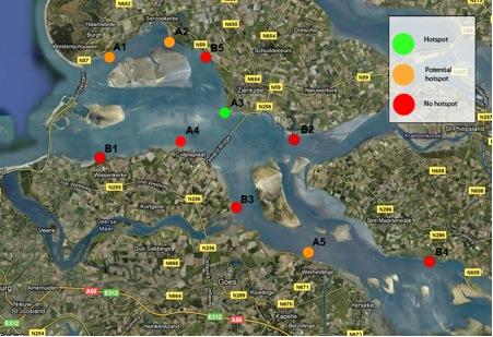 Overzicht Hotspots in de Oosterschelde