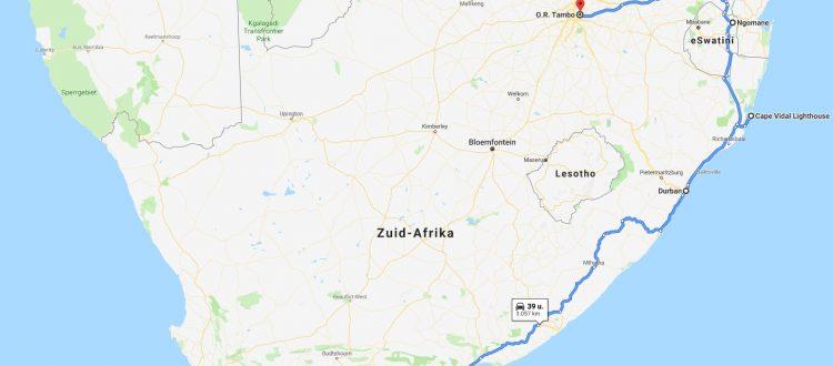 De route van Kaapstad naar Johannesburg