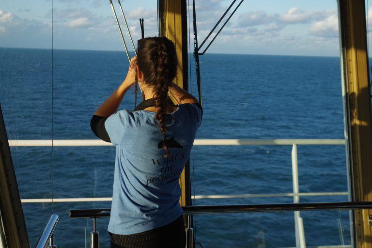 Observer Nathalie aan boord in 2019
